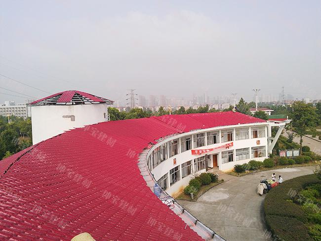 合成树脂瓦圆弧形建筑平改坡工程案例