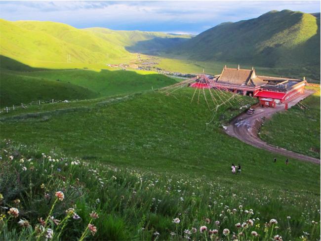 阿坝州朗措玛寺3500�O寺庙扩建项目的坤宝合成树脂瓦已发货