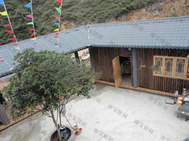 南充柴火鸡等农家乐屋顶盖合成树脂瓦案例