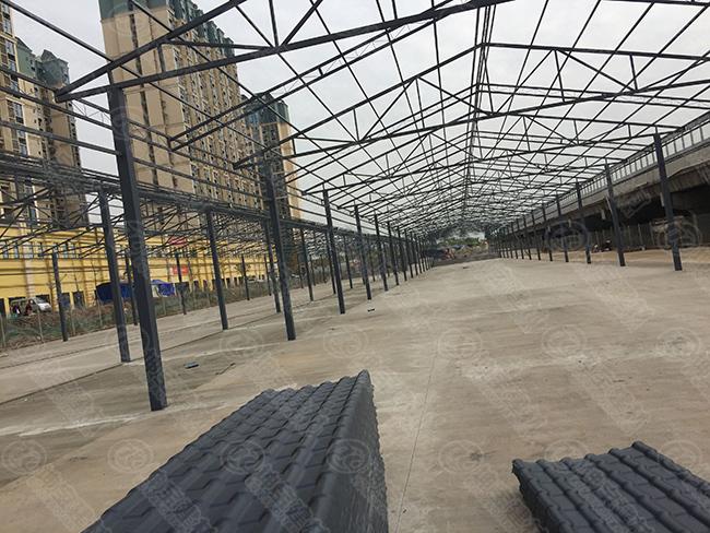 成都龙泉农贸市场盖树脂瓦大棚案例